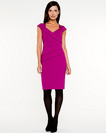 Sponged Knit Fitted Dress