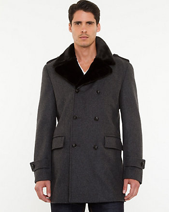Wool Blend Notch Collar Coat