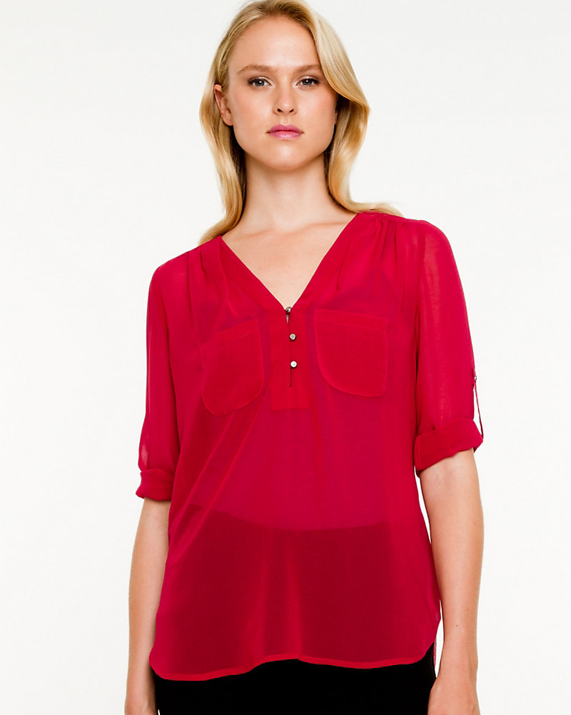 4caf728dfa9184 Chiffon Roll-up Sleeve Blouse | LE CHÂTEAU