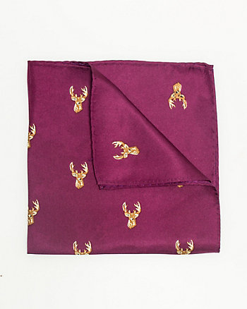 Silk Moose Print Pocket Square