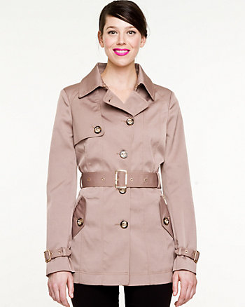 Woven Single Breasted Trench Coat