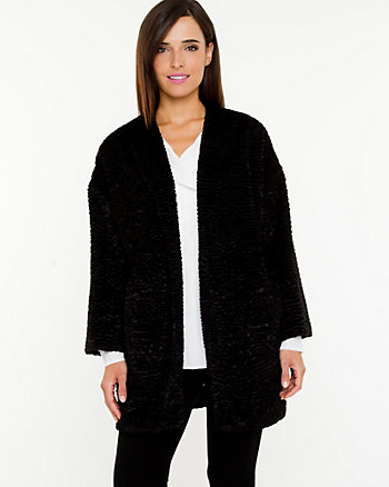 Faux Fur Collarless Overpiece