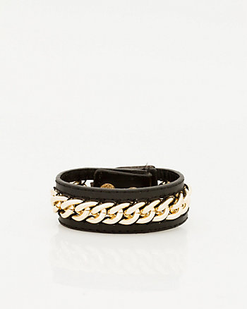 Chain & Faux Leather Cuff