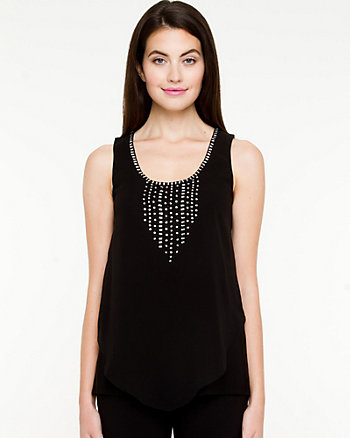 Beaded Chiffon Sleeveless Blouse