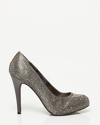 Jewel Embellished Satin Almond Toe Pump