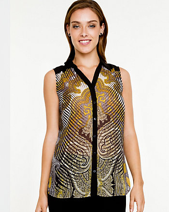Paisley Print Sleeveless Blouse