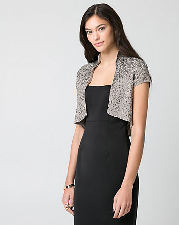 Embellished Woven Open-Front Shrug
