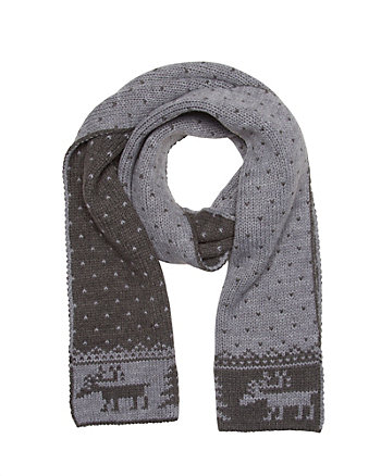 Wool Blend Animal Icon Scarf