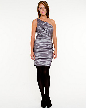 Ruched Taffeta Cocktail Dress