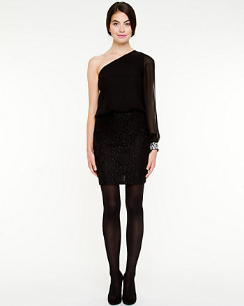 Lace Blocked One Shoulder Cocktail Dress