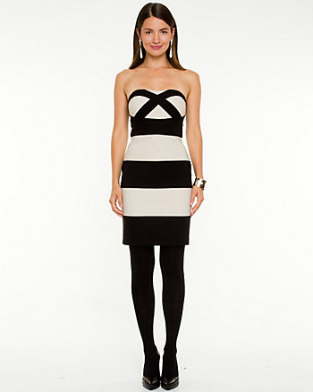 Stripe Sponged Knit Tube Dress