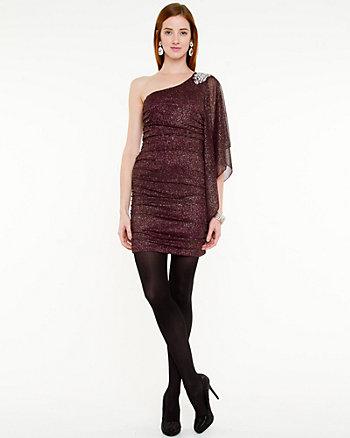 Sparkle Mesh One Shoulder Dress
