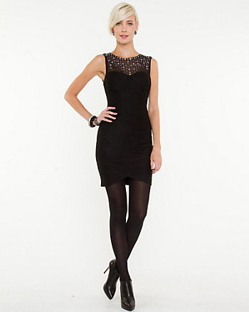 Jewel Encrusted Illusion Neckline Dress