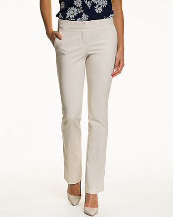 Cotton Blend Slight Flare Leg Pant