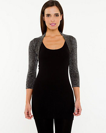 Metallic Open-Front Shrug