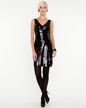 Sequin V-Neck Cocktail Dress