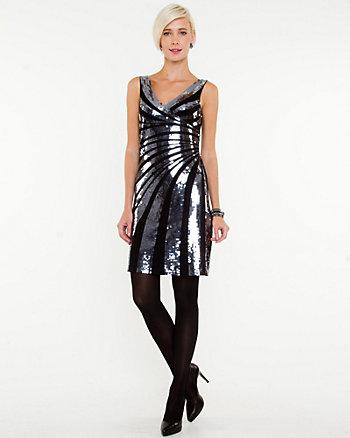 Sequin V-Neck Cocktail Dress
