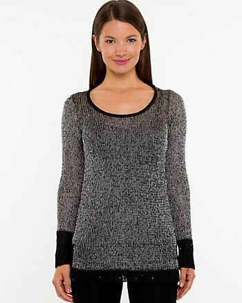 Knit & Woven Metallic Sweater