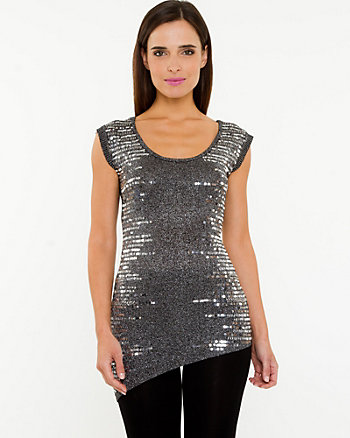 Metallic Scoop Neck Sweater