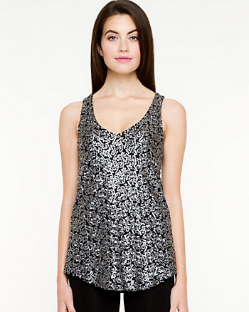 Sequin Knit V-Neck Top
