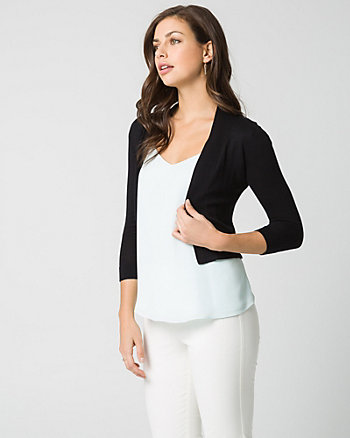 Cotton Blend Cropped Cardigan