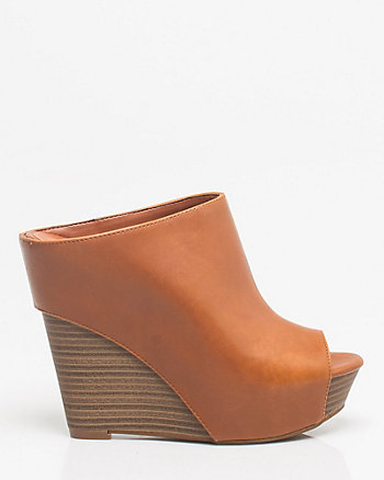 Leather Open-toe Wedge