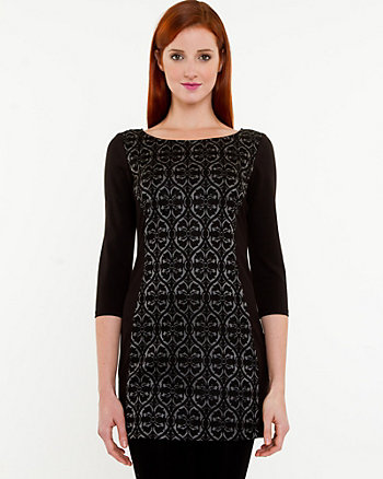 Jacquard Scoop Neck Knit Tunic