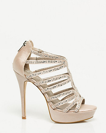 Jewel Embellished Satin Platform Sandal
