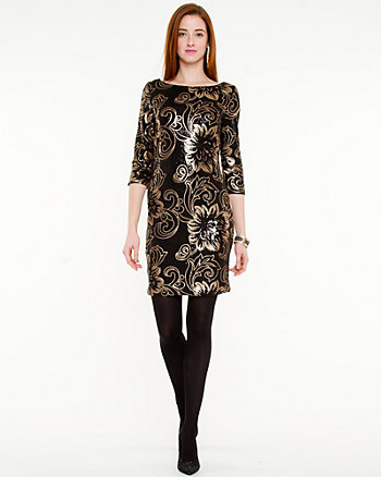 Sequin Boat Neck Fitted Dress