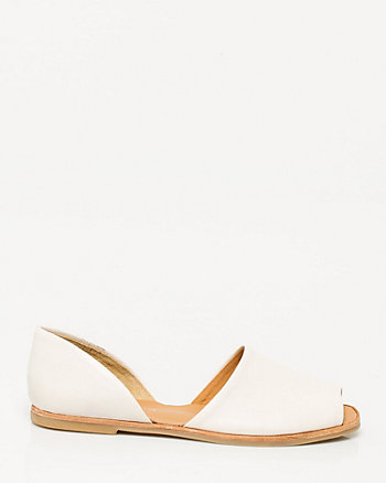 Leather Peep Toe Flat