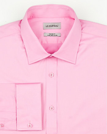 Stretch Cotton Sateen Tailored Fit Shirt