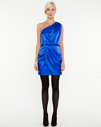 Satin One Shoulder Cocktail Dress