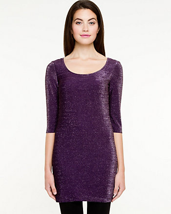 Metallic Knit Scoop Neck Tunic