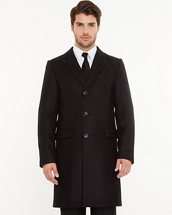 Wool Blend Notch Collar Crombie Coat