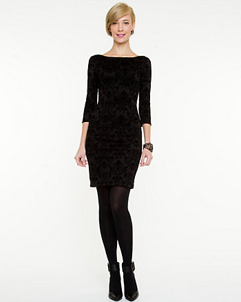 Flocked Scuba Knit Dress