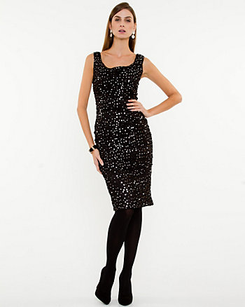Sequin Mesh Scoop Neck Dress