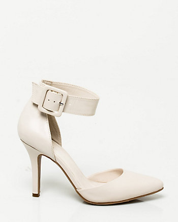 Leather-Like Ankle Strap Shoe