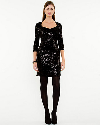 Velvet & Sequin Fitted Dress