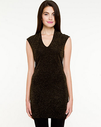Shiny Jacquard V-Neck Tunic