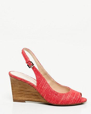 Metallic Linen Slingback Shoe