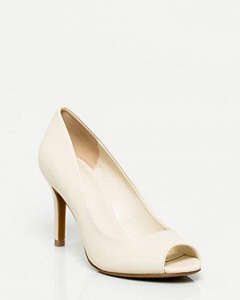 Leather-Like Peep Toe Pump