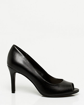 Leather-Like Peep Toe Pump