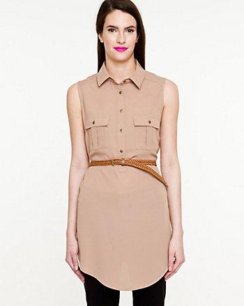 Crêpe Sleeveless Belted Tunic