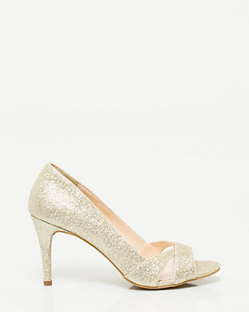 Glitter Mesh Open Toe Pump
