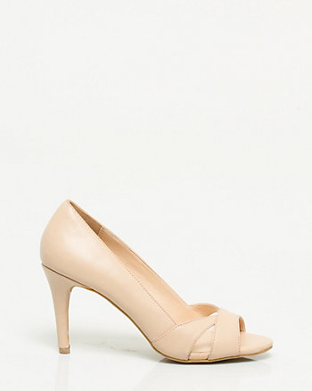 Faux Leather and Mesh Open Toe Pump