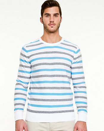 Stripe Slub Knit Crew Neck Sweater