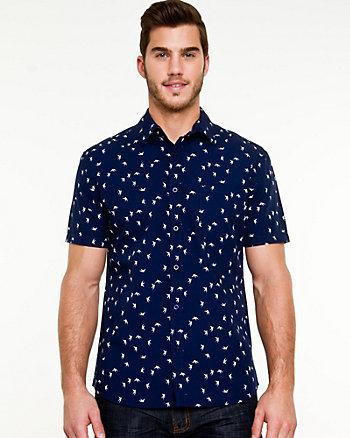 Cotton Bird Print Tailored Fit Shirt