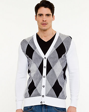 Cotton Argyle Print Cardigan