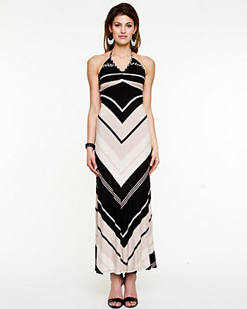 Jersey Chevron Stripe Maxi Dress