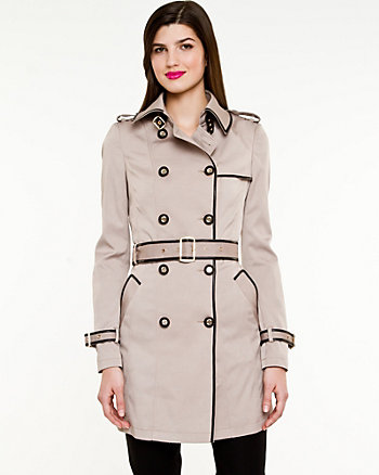 Woven Double Breasted Trench Coat